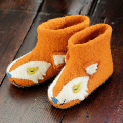Piccalilly Kids Cute Felt Wool Fox Slippers