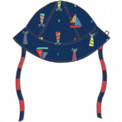 Piccalilly Organic Cotton Lighthouse Reversible Baby Sun Hat