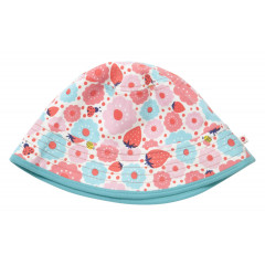 Piccalilly Organic Cotton Strawberry Floral Reversible Sun Hat