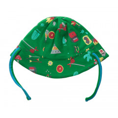Piccalilly Organic Cotton Green Animal Print Reversible Baby Sun Hat