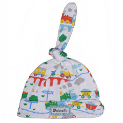 Piccalilly Organic Cotton rainbow Train Baby Knot Hat