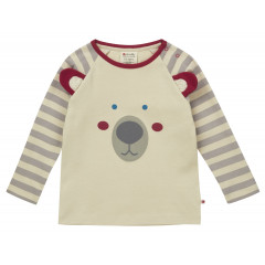 Piccalilly Organic Cotton Grey Stripe Boys Polar Bear Raglan Top