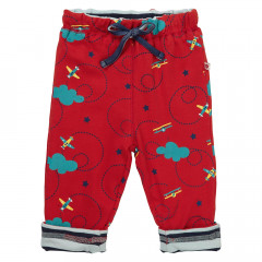 Piccalilly Red Airplane Kids Jersey Trousers