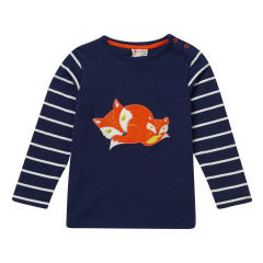 Piccalilly Navy Blue Stripe Fox Top