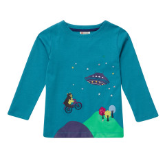 Piccalilly Kids Teal Blue Long Sleeve Space Top