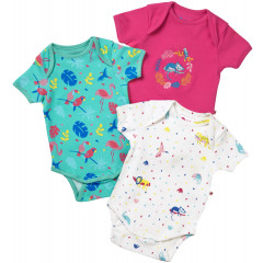 Piccalilly Pack of 3 Organic Short Sleeve Baby Bodysuits