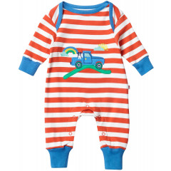 Unisex Red Stripe Baby Romper Without Feet