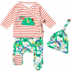Unisex 3 Piece Hat and Romper Farm Set