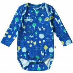 Unisex Blue Long Sleeve Farm Theme Baby Bodysuit