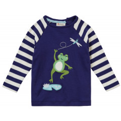 Piccalilly Navy Blue Kids Frog Top