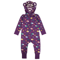 Piccalilly Purple Hooded Baby Playsuit