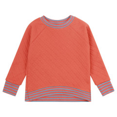 Women's Plain Spicy Orange Quilted Sweatshirt