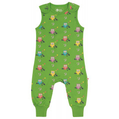 Piccalilly Green Owl Jersey Dungarees