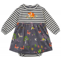 Piccalilly Grey Baby Dress with Bodysuit