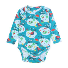 Piccalilly Aqua Blue Long Sleeve Baby Bodies