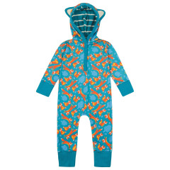 Piccalilly Fox Hooded Playsuit for Baby