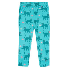 Piccalilly Teal Blue Cat Leggings for Kids
