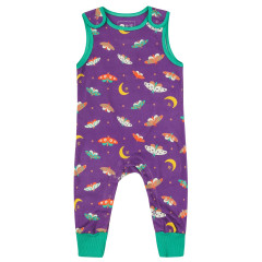 Piccalilly Purple Moonlight Moth Jersey Dungarees