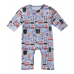 Piccalilly Organic Cotton Blue Boys Piccalilly Circus Playsuit