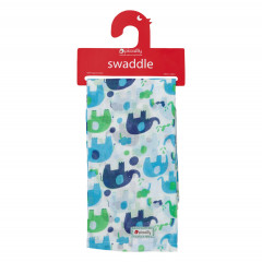 Muslin Swaddle - Blue Elephant