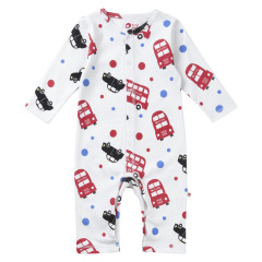 Piccalilly Organic Cotton Red Boys London Bus Print Playsuit