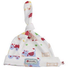 Piccalilly Organic Cotton Multicoloured Baby Boys Farmyard Print Hat