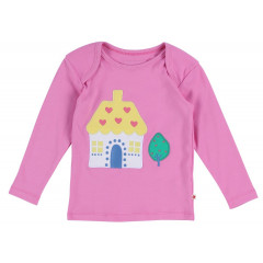 Piccalilly Long T-Shirt Pink House Applique