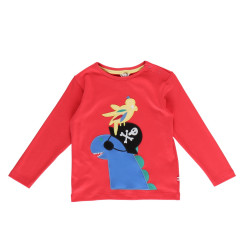 Piccalilly Top - Red Pirate Dinosaur Applique