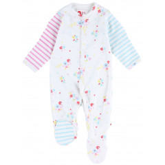 Piccalilly Sleepsuit - Footed Floral Stripe