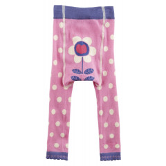 Piccalilly Organic Cotton Pink Girls Spotty Footless Tights