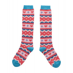 Piccalilly Organic Cotton Pink & Blue Girls Fair Isle Socks