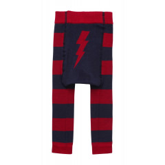 Piccalilly Organic Cotton Red & Blue Unisex Baby & Toddler Lightening Bolt Leggings