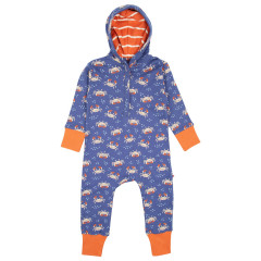 Upcyled Hooded Sleepsuit - Ocean Crab
