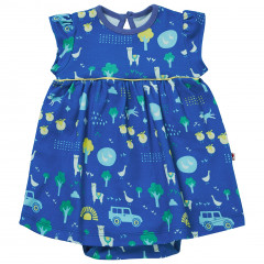 Piccalilly Baby Girls Blue Farm Themed Baby Body Dress