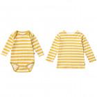 Mustard Stripe Bodysuit and Long Sleeved Top Sibling Set